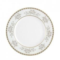 Assiette plate à aile 20 cm Pensée Bucolique en porcelaine blanche décoration galon or