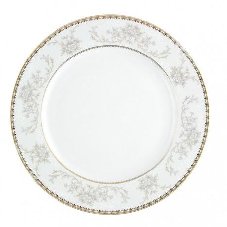 Assiette plate à aile 27 cm Pensée Bucolique en porcelaine blanche décoration galon or