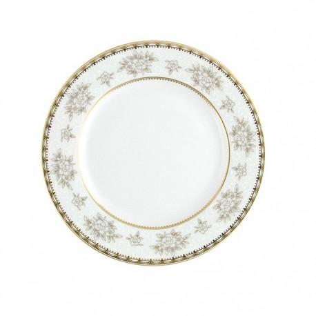 Assiette plate à aile 18 cm Pensée Bucolique en porcelaine blanche décoration galon or