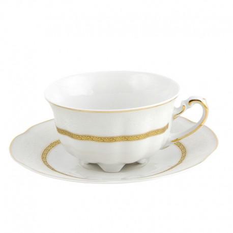 Tasse à thé 220 ml avec soucoupe en porcelaine blanche Or Romanesque