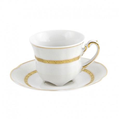 Tasse à café 100 ml avec soucoupe en porcelaine blanche Or romanesque