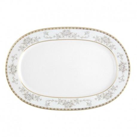 Plat ovale 33 cm Pensée Bucolique en porcelaine blanche galon or