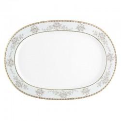 Plat ovale 37 cm Pensée Bucolique en porcelaine blanche galon or