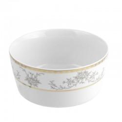 Saladier rond 17 cm Pensée Bucolique en porcelaine blanche galon or