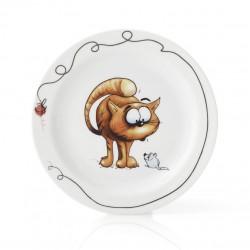 Assiette plate 19 cm Le Roux en porcelaine motif chat