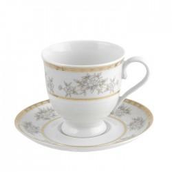 Tasse à thé 220 ml avec soucoupe 14 cm Pensée Bucolique en porcelaine