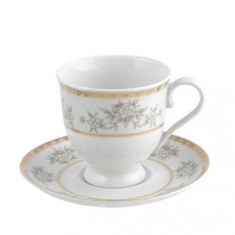 Tasse à thé 220 ml avec soucoupe 14 cm Pensée Bucolique en porcelaine blanche galon or