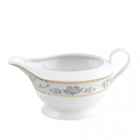 Saucière 500 ml Pensée Bucolique en porcelaine blanche galon or