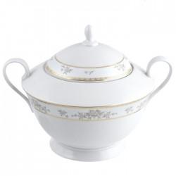 Soupiere 3000 ml Pensée Bucolique en porcelaine blanche galon or