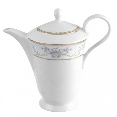 Théière 1200 ml Pensée Bucolique en porcelaine blanche galon or