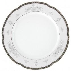 Assiette 27 cm ronde plate en porcelaine - Abondance platinique