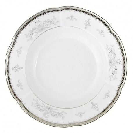 Assiette 19 cm ronde plate en porcelaine - Abondance platinique