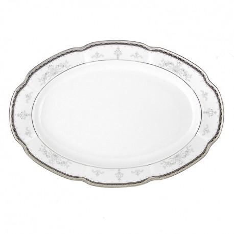 Plat 33 cm ovale en porcelaine - Abondance Platinique