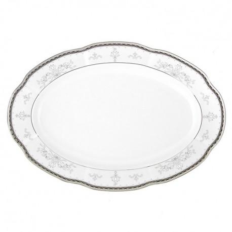 Plat 36 cm ovale en porcelaine - Abondance Platinique
