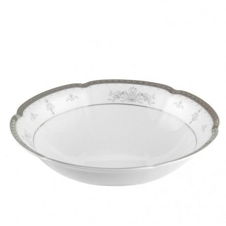 Saladier 23 cm rond en porcelaine - Abondance Platinique