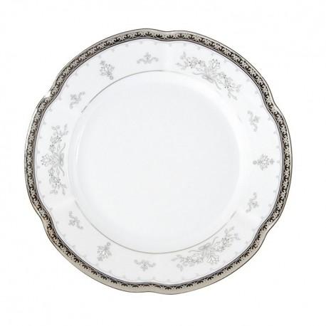 Assiette 22,5 cm ronde creuse en porcelaine - Abondance Platinique