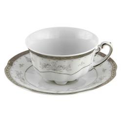 Tasse à thé 220 ml avec sa soucoupe, service de table en porcelaine blanche décorée de galon d'or - Soleil Levant