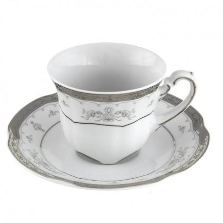 Tasse à café 100 ml avec sa soucoupe Abondance Platinique