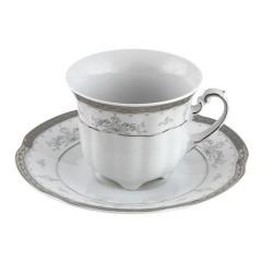 Tasse à café haute 230 ml avec sa soucoupe Abondance Platinique