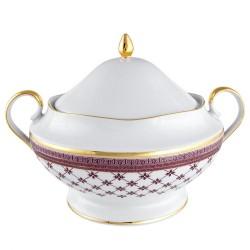 Soupière 3 litres avec couvercle en porcelaine Désir galon or