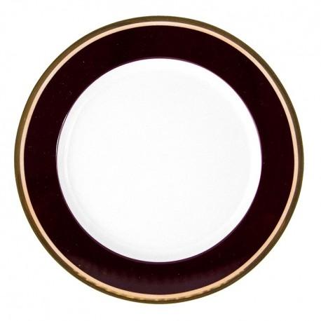 Assiette plate dessert ronde 19 cm Désir en porcelaine galon or