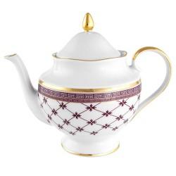 Théière 1200 ml en porcelaine blanche décorée Désir