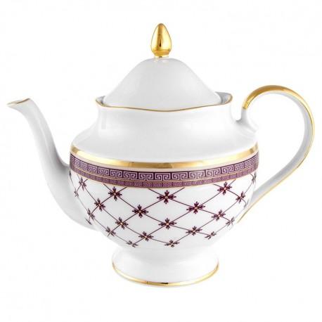 Théière 1200 ml en porcelaine blanche décorée Désir galon or