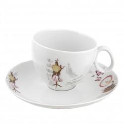 Tasse à thé 330 ml avec soucoupe Symphonie des Papillons en porcelaine