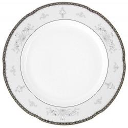 Plat 32 cm rond en porcelaine - Abondance Platinique