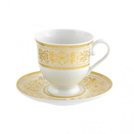 Tasse à café 100 ml avec soucoupe 13 cm Ruban Impérial en porcelaine