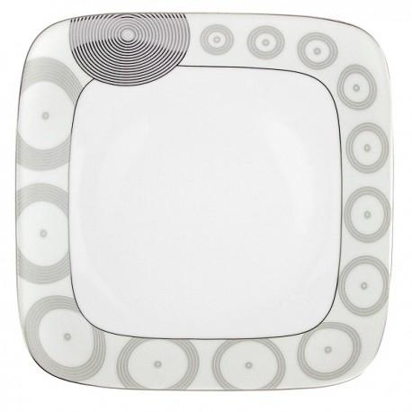 Assiette plate carrée 30,5 cm Digital géométric en porcelaine