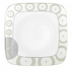 Assiette plate carrée 23 cm Digital géométric en porcelaine