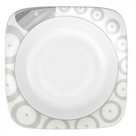 Assiette creuse carrée 24,5 Digital géométric en porcelaine