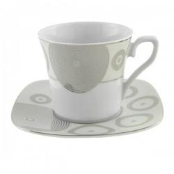 Tasse à thé 220 ml avec soucoupe Digital Geometric en porcelaine