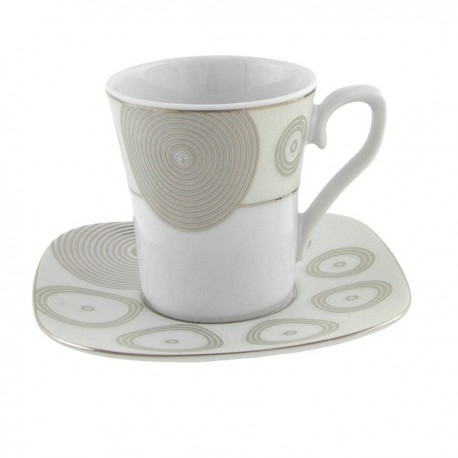 Tasse à café 100 ml avec soucoupe Digital géométrie en porcelaine
