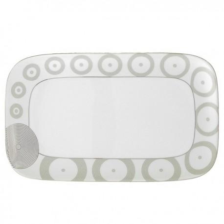 Plat rectangulaire 30,5 cm Digital géométric en porcelaine