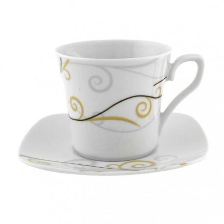 Tasse à thé 0,22 l avec soucoupe Virevolte en porcelaine