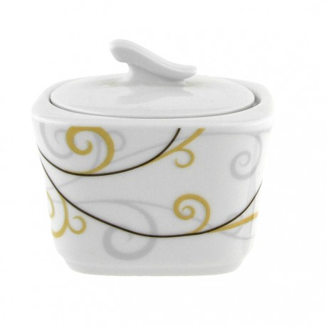 Sucrier carré 300 ml Virevolte en porcelaine
