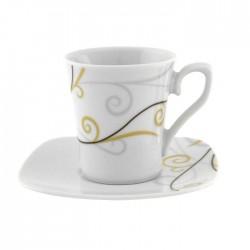 Tasse à café 0,01l avec soucoupe Virevolte en porcelaine