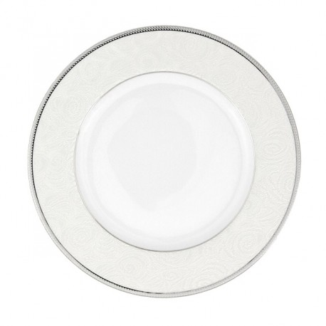 Assiette à aile plate ronde 20 cm La Roseraie en porcelaine