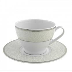 Tasse à thé 280 ml avec soucoupe 16 cm La Roseraie en porcelaine