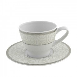 Tasse à café 100 ml avec soucoupe 12 cm La Roseraie en porcelaine