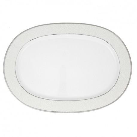 Plat ovale 35 cm La Roseraie en porcelaine
