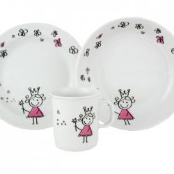 Set Mug Assiette Plate et Creuse Dessine-moi une petite fille dans une boite à fenêtre