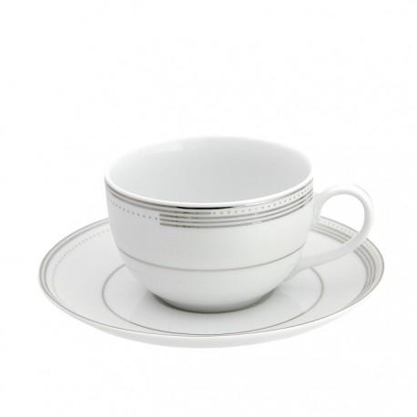 Tasse à thé en porcelaine avec galon de platine, service à thé en porcelaine, service à café en porcelaine, service de table