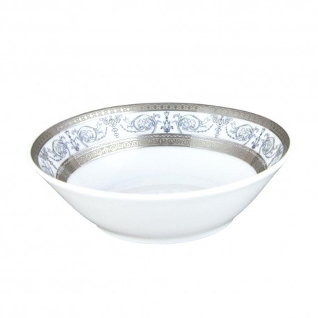 service de table en porcelaine blanche, vaisselle galon platine, coupelle