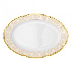 Plat 33 cm ovale en porcelaine - Soleil Levant