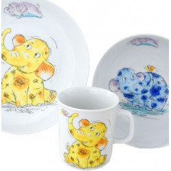 Set pour enfant : Mug, Assiette Plate et Bol Eléphant