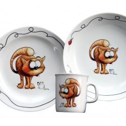Set motif chat Mug Assiette Plate et Creuse Oeillet boite à fenêtre