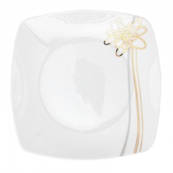Assiette plate carrée 25,5 cm (30,5 cm diag) Songe d'Automne en porcelaine